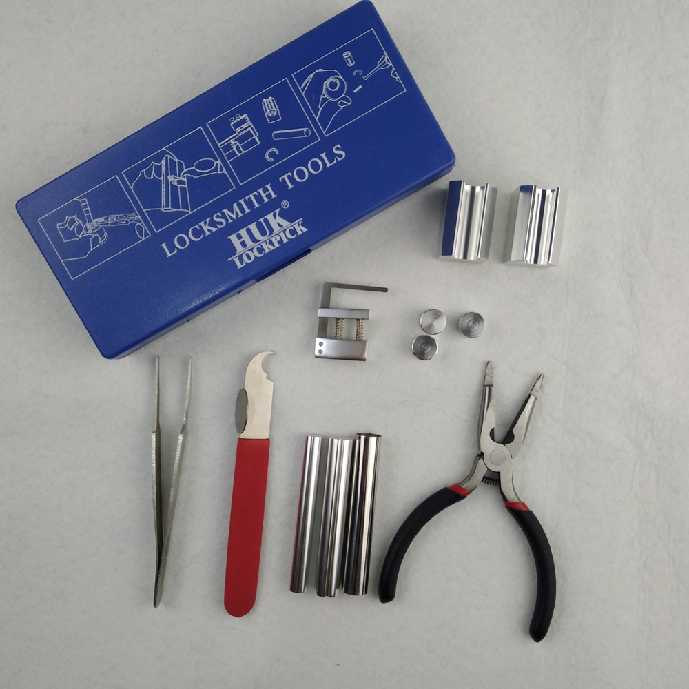 1 Set Auto Car Key Blade Pin Disassembling Plier Locksmith Tools W// Plastic Box