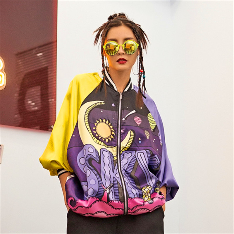 women spring autumn thin   trench   purple blue sky print sun and moon space patchwork hip hop style zipper yellow sleeve basic coat