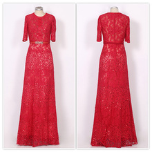 Coniefox 31160 Newest Evening Dresses Sexy Lace Jewel Neck 2017 Red Wedding Party Long Evening Dresses
