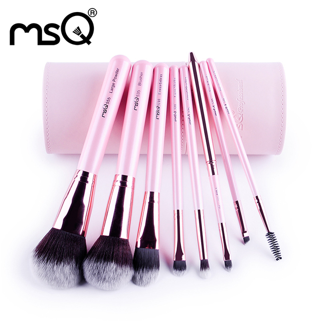 Msq nueva llegada 8 unids pinceles de maquillaje rosa set profesional herramienta de la belleza cosmética de maquillaje cepillo con cuero de la pu de cilindro caso