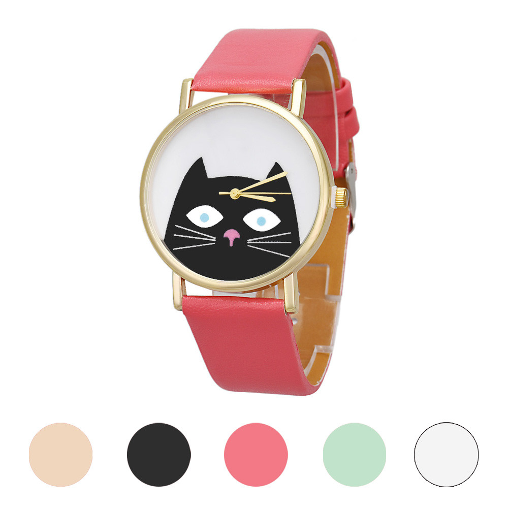 Cat Women Men Leather Band Analog Quartz Dial Wrist Watch stylish bracelet zinc alloy band women s quartz analog wrist watch black 1 x 377