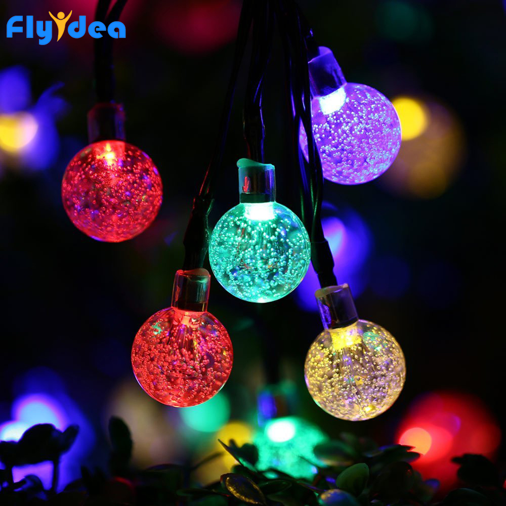 5M LED christmas lights New Year's Halloween garden garland Round ball light string Solar battery holiday crystal decorative|Lighting Strings| |  - title=