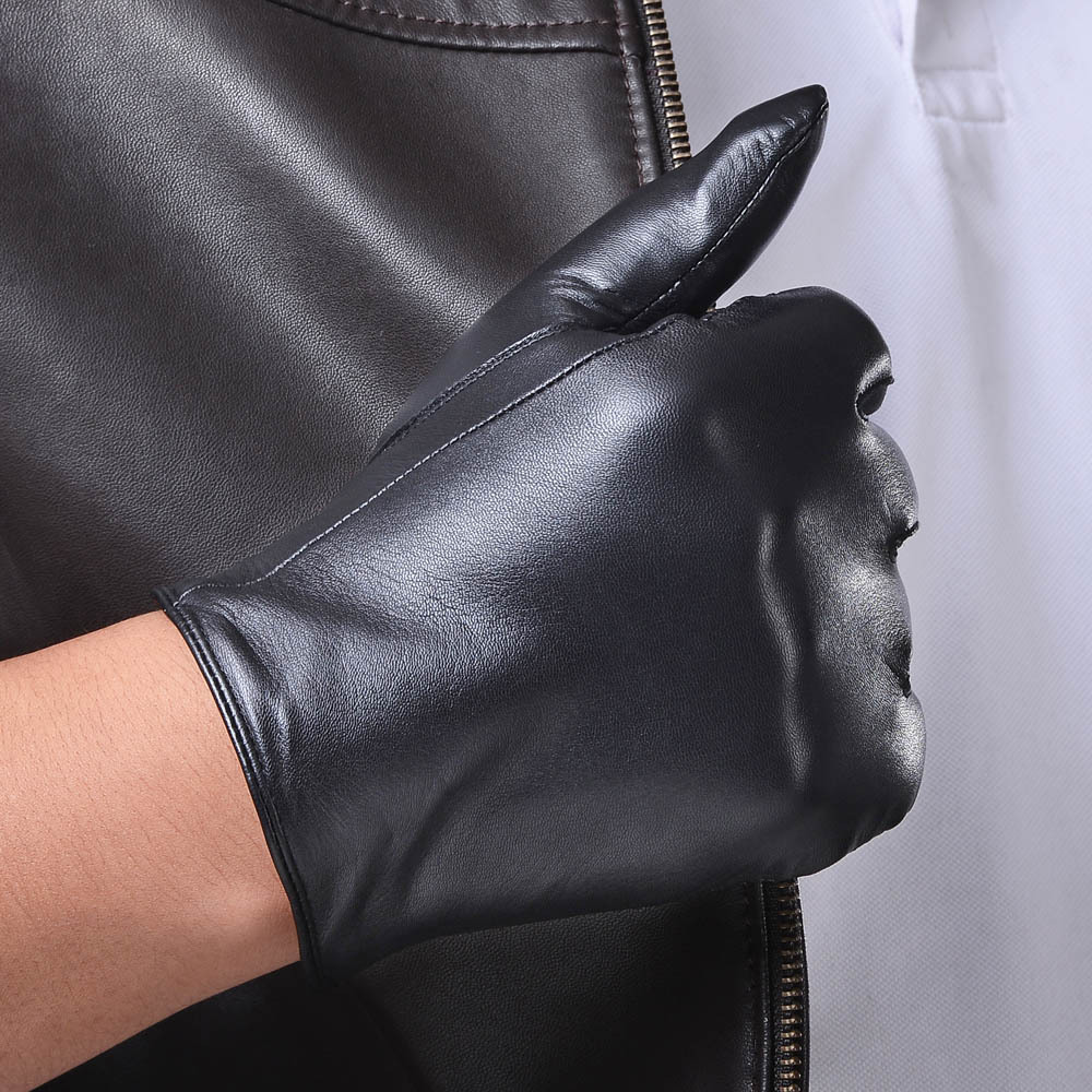 Mens leather gloves thin - 2015 Men Fashion Simple Brief England Russian Gift Show Male Sheepskin Genuine Leather Thin Short Gloves