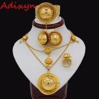 Adixyn Ethiopian Gold Color Jewelry Sets For Women African Nigeria Congo Sudan Eritrea Habesha Wedding Bridal