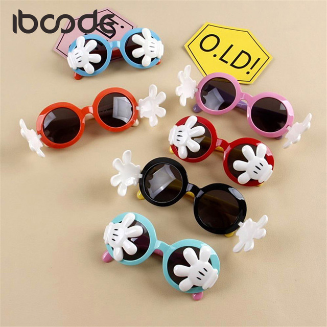 09c5ff2527 iboode Funny Palms Round Sunglasses for Kids Polarized Silicone Flexible  Cute Boys Girls Sun Glasses Cartoon