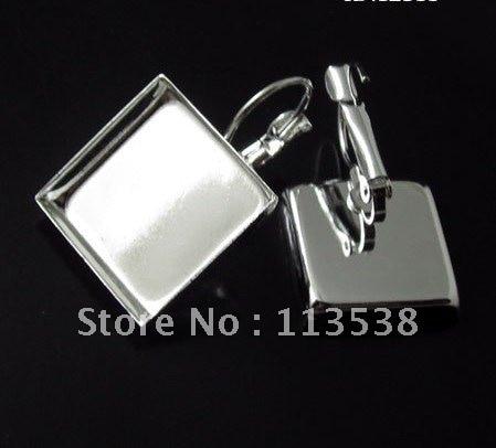 100 шт/партия 16 мм посеребренные квадратные накладки французский ушной пустой основа тележки никель свинец