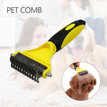 Double Side Pet Fur Dog Brush Stainless Steel Cat Grooming Hair Dematting Remover Tangles Trimmer Tool Dog Comb Pet Brush Rake double side pet fur dog brush comb rake hair brush cat grooming deshedding trimmer tool dog comb pet brush rake 12 23 blades