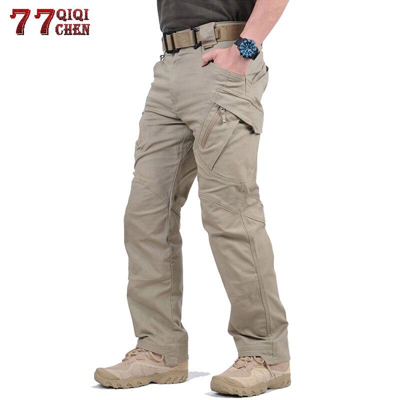Waterproof Tactical Pants Army Military Style Cargo Pants Men Cotton IX9 Multi-pocket Zipper Combat Trousers Plus Size S-5XL