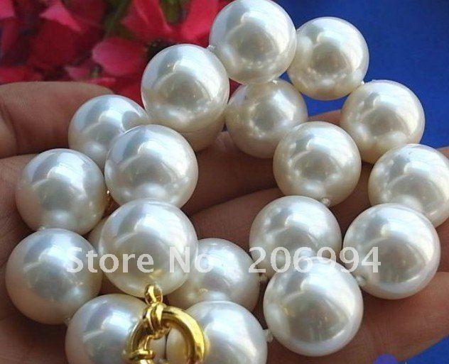 Самый низкий редкий огромный 20 мм Южное море белая раковина жемчужное ожерелье ювелирные изделия из жемчуга модные ювелирные изделия