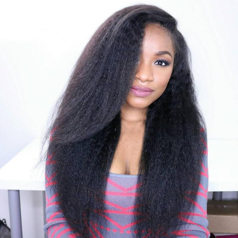 Kinky Straight Lace Front Human Hair Wigs Virgin Brazilian