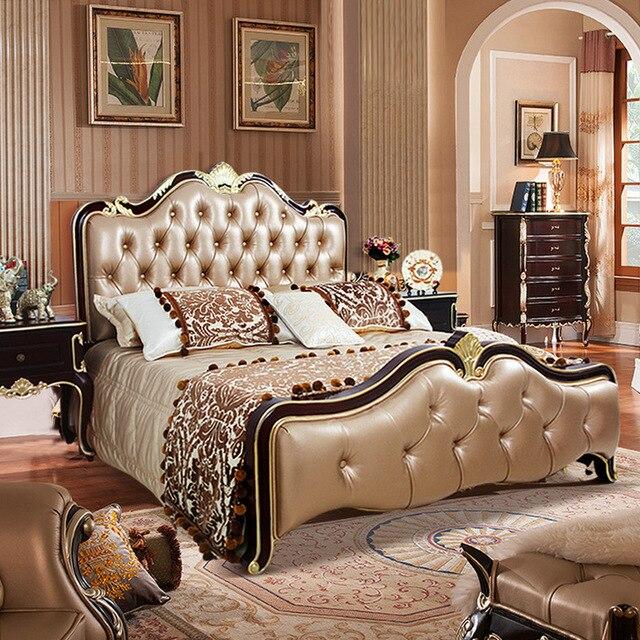 Americanos neoclásicos cama dormitorio cama cama doble 1.5 1.8 m ...