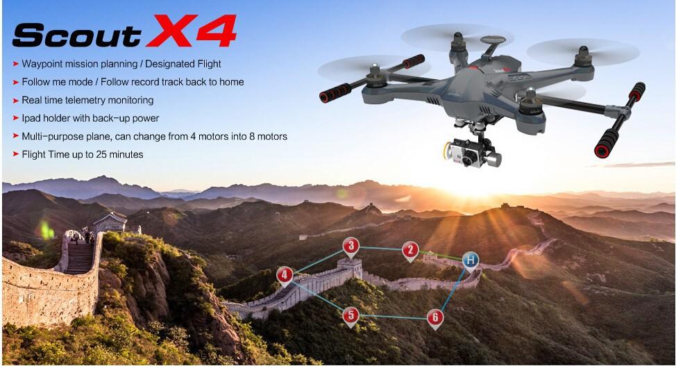 Walkera Scout X4 GPS RC Quadcopter Drone Devo F12E G-3D Gimbal ILook+ WHITE FPV RTF EMSDHLFEDEX Free shipping