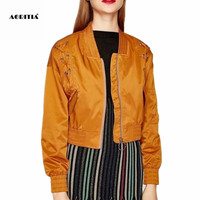 2019 Women Aviator Jacket Lace Up Jackets Women Chaquetas Mujer Coat Women