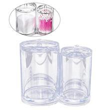 LUOEM Cotton Ball Swab Holder Organizer Storage Box Dual-compartment Cotton Pad Container Case Makeup Pads Swab Case