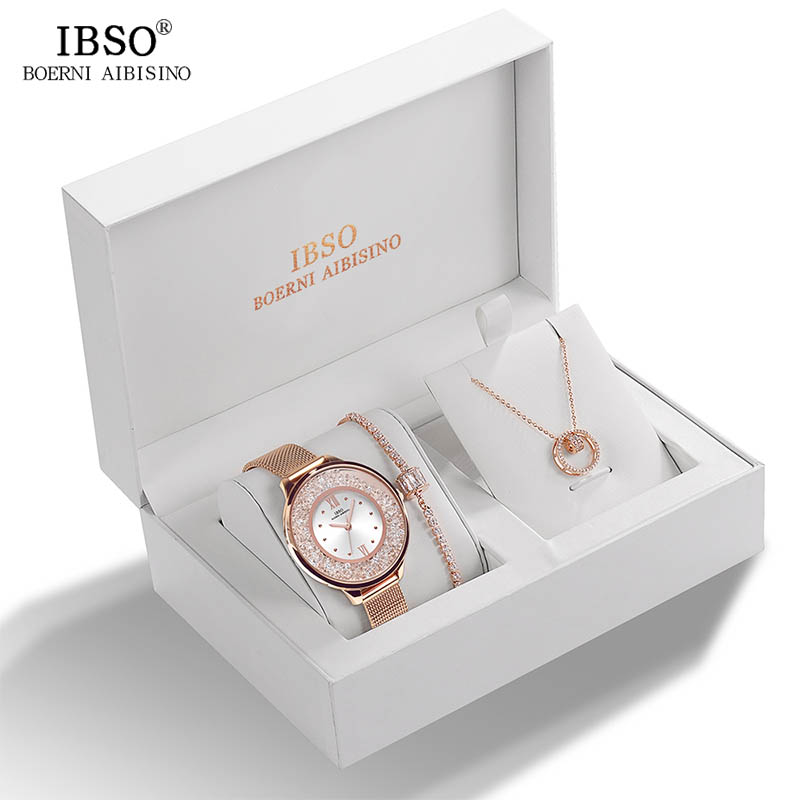 Image 3 - IBSO Brand Women Crystal Design Watch Bracelet Necklace Set Female Jewelry Set Fashion Creative Quartz Watch Lady's Gift-in Women's Watches from Watches
