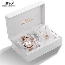 Брендовые женские часы и браслет IBSO с кристаллами, комплект женских ювелирных изделий, модные креативные кварцевые часы, подарок для женщин