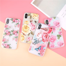 USLION 3D Relief Flower Phone Case For iPhone 6 6s Plus Clear Rose Floral Cases For iPhone X 8 7 6S Plus Soft TPU Back Cover