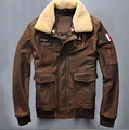 2015 Новые Кожаные Куртки пилот Кожаная одежда Тонкий мужские кожаные куртки Теплые куртки Ввс полета костюм куртка