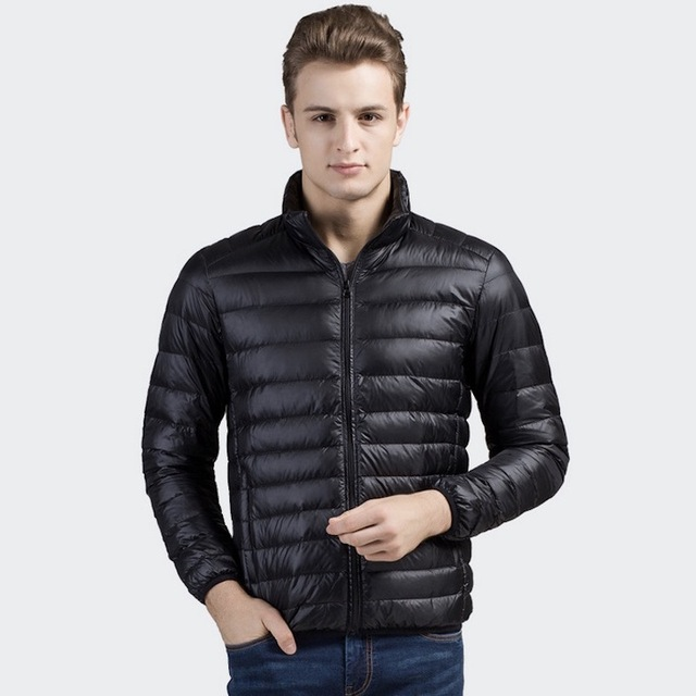 2017 Winter Autumn Duck down jacket mens slim fit long sleeve coats jackets 90% Down Content thin ultra light down jacket