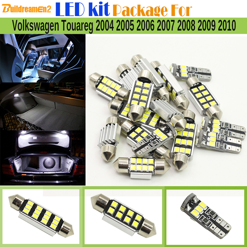 Buildreamen2 For Volkswagen Touareg 2004 2010 Car Canbus Interior LED Kit Package 2835 Chip LED Bulb White Map Dome Trunk Light