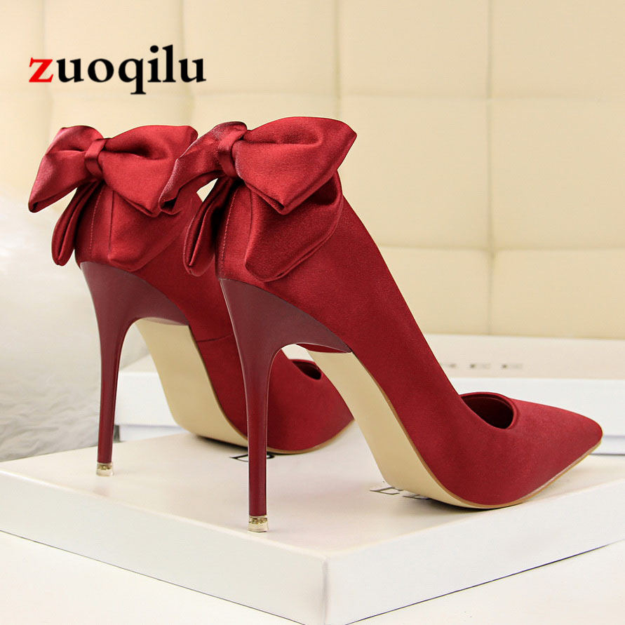Women Pumps Shoes Bow Red High Heels Wedding Shoes Ladies Heels Shoes Pumps Women 2018