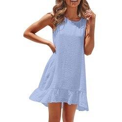 Sexy sukienka damska moda damska bez rękawów jednolity kolor na co dzień plisowane luźne abiti donna letnia sukienka 2