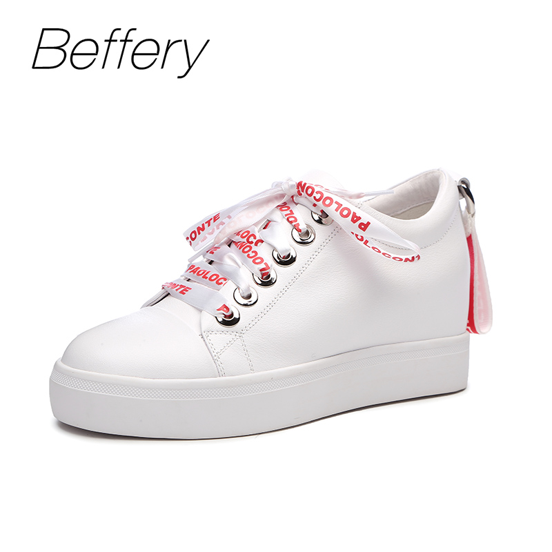 Beffery 2018 Spring Genuine Leather Sneakers Women Casual Shoes Platform Wedge Shoes Fashion Lace-up White Shoes Women Sneakers beffery 2018 new fashion sneakers women genuine leather lace up flat platform shoes for women fashion star casual shoes a1md701