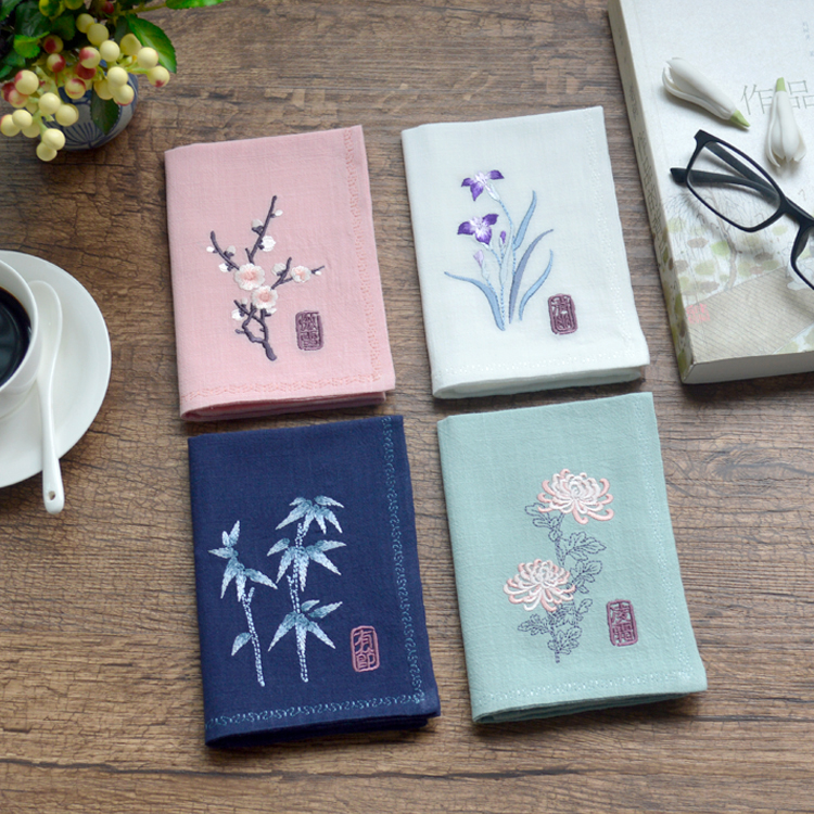 Plum Blossom Bamboo Chrysanthemum Vintage Fashion Chinese Embroidery Flower Handkerchief Birthday Graduation Wedding Gifts