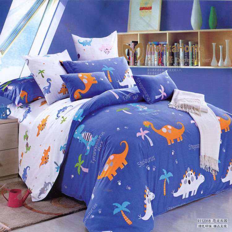 free shipping children cartoon blue dinosaur bed sets twin full queen size duvet cover for kids - Queen Size Duvet Cover