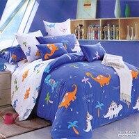 Niños libres del envío dinosaurio azul cama doble fija reina de tamaño completo Cover para los niños sin relleno textiles para el hogar