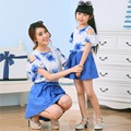 2015 new summer style family look matching mother daughter clothes outfits mommy and me girls vestidos clothing set shirts+skirt