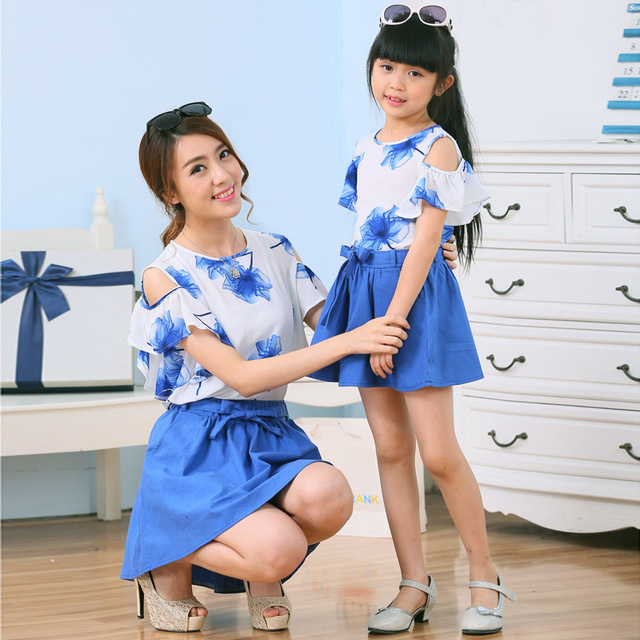 b4566049c44 2015 new summer style family look matching mother daughter clothes outfits  mommy and me girls vestidos