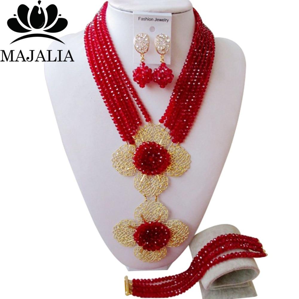 2017 Mode Anggur Burgundy Nigeria Pernikahan afrika beads jewelry set Kristal kalung gelang anting Gratis pengiriman WIN002