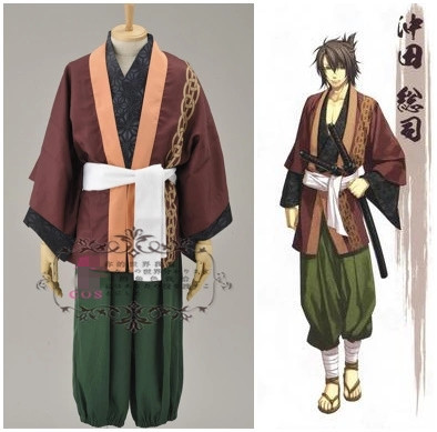 Anime! Hakuouki Okita Souji Uniform Cosplay Costume Halloween Carnival Hanfu For Men Free Shipping