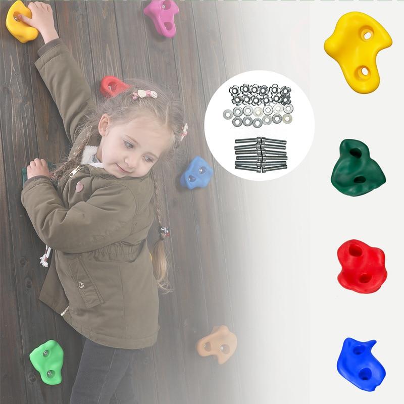Climbing Frame Kids Rock Climbing Wall Stones Hand Feet Holds Grip Hardware Kits Chidren Outdoor Climbing Accessories