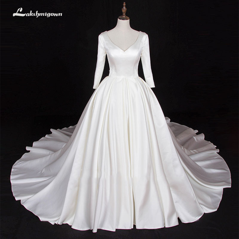 Long Sleeve V Neck Wedding Gown: Long Sleeve Stain Wedding Dresses 2019 V Neck Puffy Bridal
