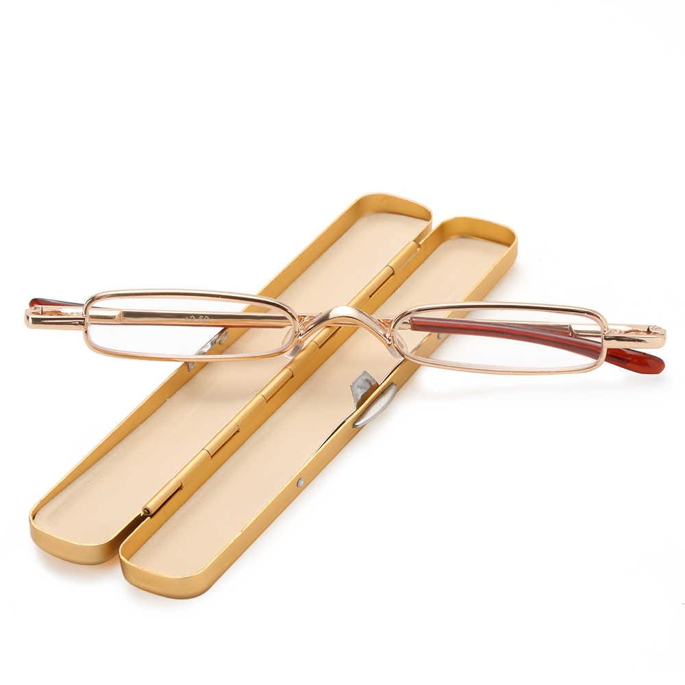 Gafas de lectura Unisex de diseño Mini, pequeñas plegable para hombre y mujer montura de gafas, gafas metálicas rojas con caja Original, 1 unidad