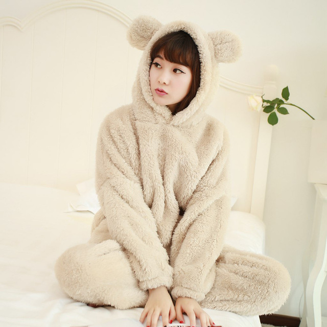 Winter Thick Warm Flannel Pajamas Cartoon Family Coral Velvet Long-Sleeved Clothes  Women Bear Suit 6d509a451