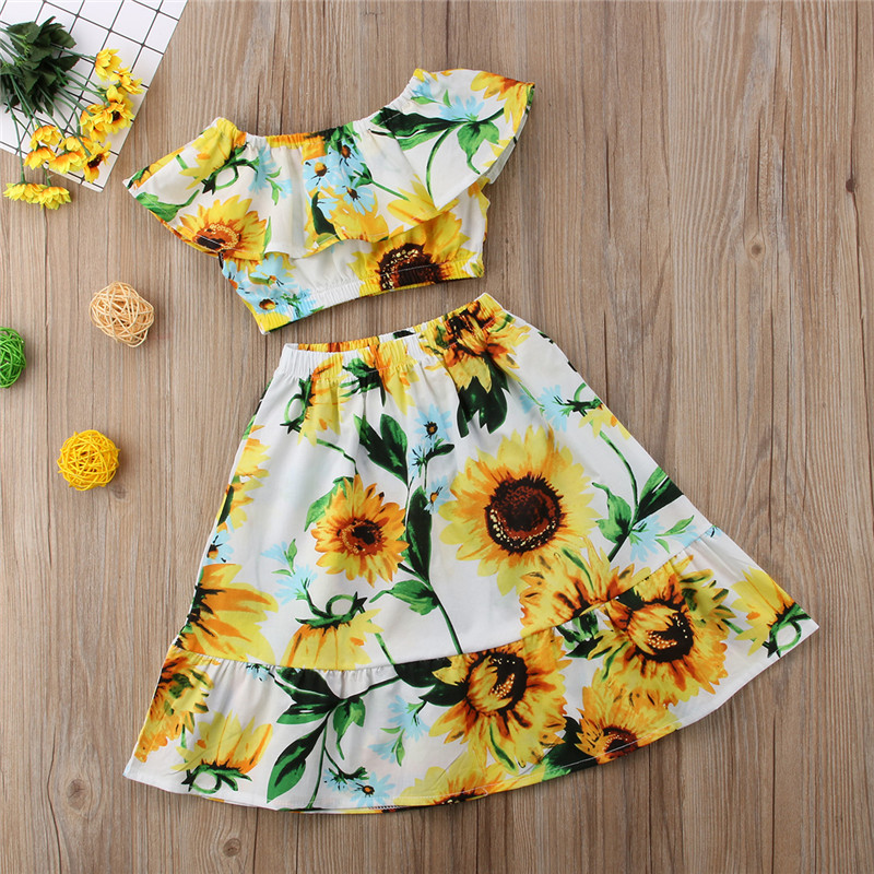 9679be01fa5f Summer Floral Off Shoulder Crop Tops Skirt Cotton Casual Outfits Girl  Clothing Cute 2-7T Toddler Kids Baby Girls Clothes Set