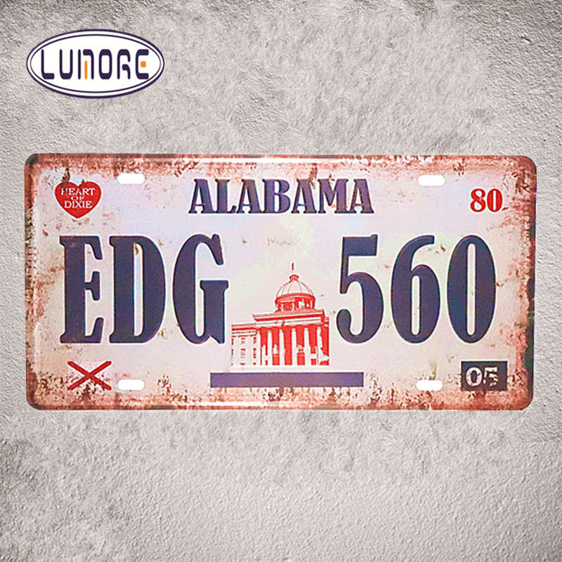 Vintage License Plates Number ALABAMA EDG 560 Metal Tin sign Art Prints Restaurant Poster Bedroom Pub Home Decor 15*30cm