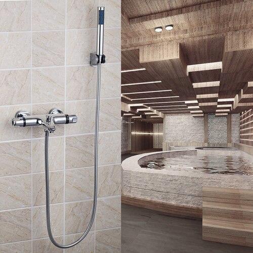 YANKSMART Wall Mount Shower Set Bathroom Thermostatic Doube Handles Wash Basin Sink 53931 Bath Tub Shower Water Tap Faucets yanksmart bath