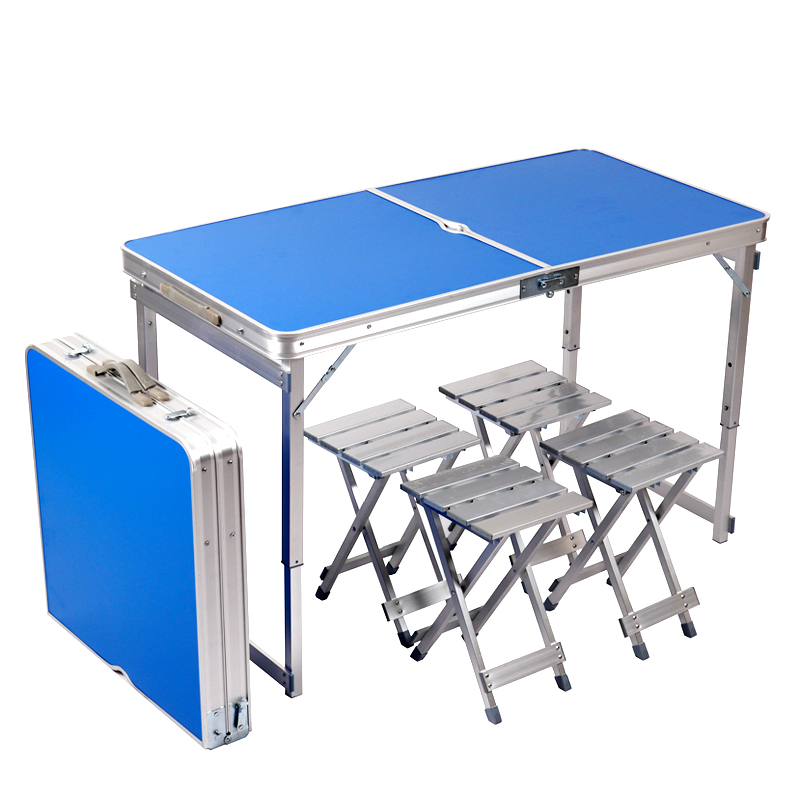 Portable Outdoor Table Foldable Multifunction Light Desk With Stool Camping Dining Table Household Simple Set Of Desk And Chair