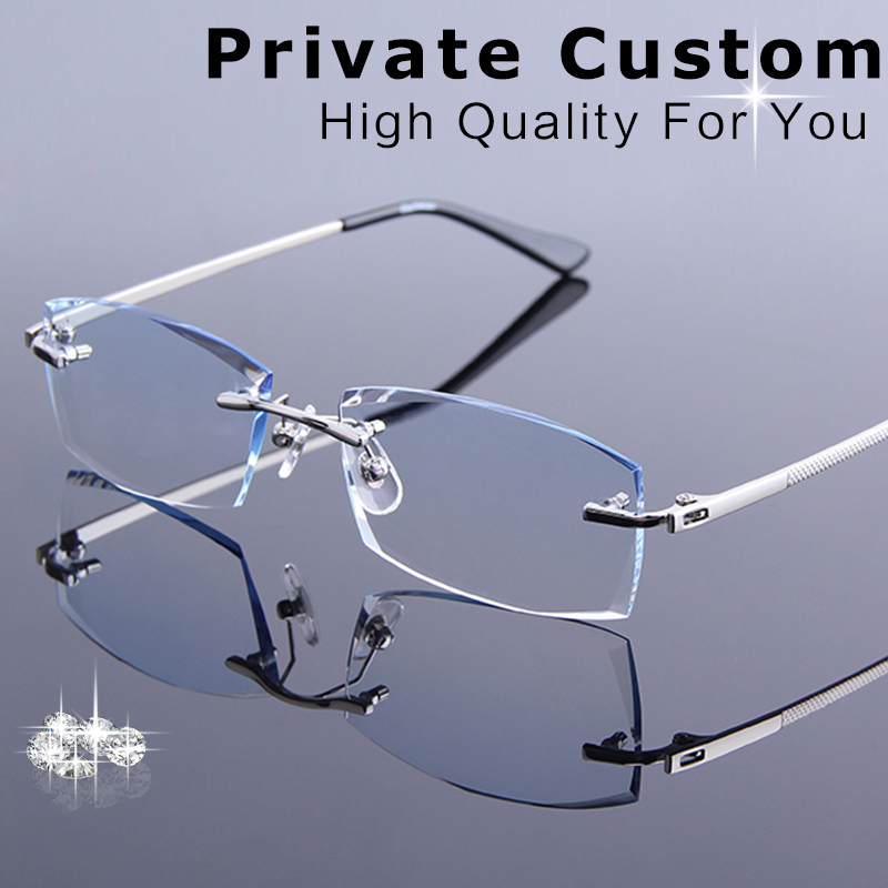 New Man Frameless Diamond Cutting Reading Glasses Men Prescription Eyeglasses Male Optical Myopia Computer Spectacle Presbyopia