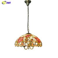 FUMAT Modern 16-inch Rose shade Pendant Lights Tiffany Stained Glass Light For Living Room Bed Room Kitchen LED Pendant Lamps