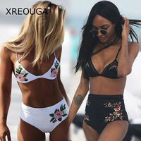 XREOUGA High Waist Sexy Embroidery Floral Bikini Sets Hollow White Black Flower Applique Maillot De Bain