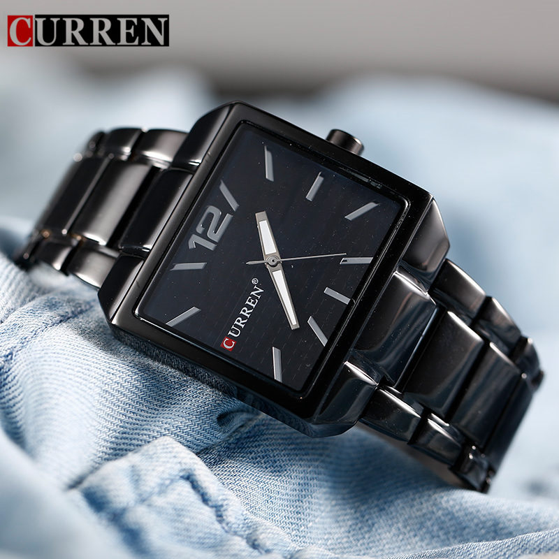 Relogio Masculino <font><b>Curren</b></font> Brand Men Watches Luxury Stainless Steel Black Quartz Watch Fashion Casual Waterproof Mens Wrist Watch image