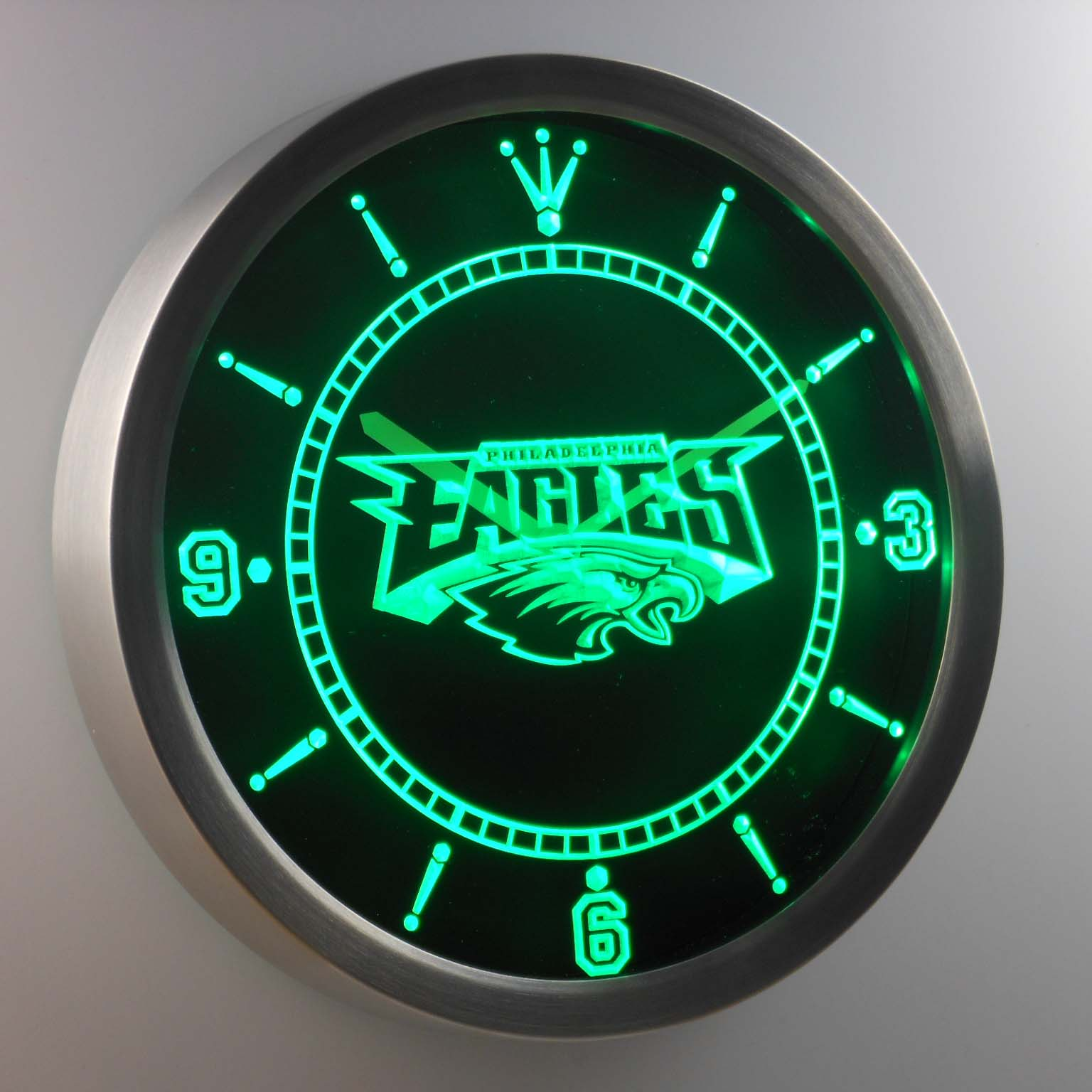 Philadelphia eagles neon sign led wall clock mozeypictures Images