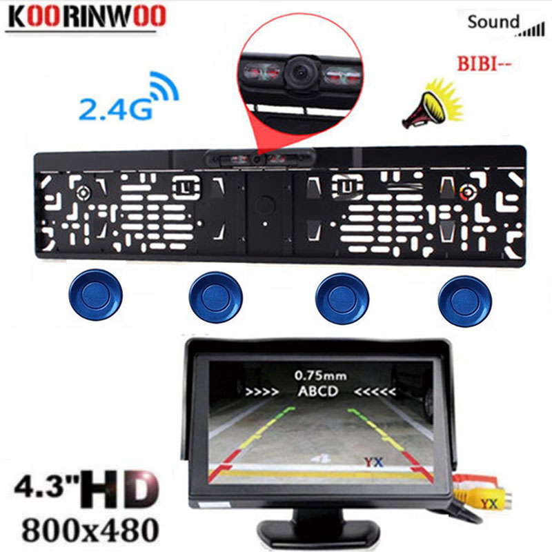 Koorinwoo DA UE Sem Fio IR sensor de Estacionamento Rear View camera License Plate Frame Câmera impermeável Back Up monitor Do Carro Parktronic