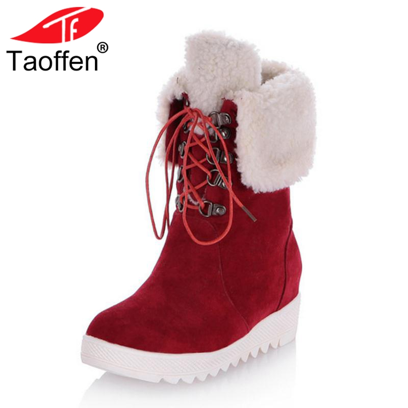 Taoffen Women Size 34-43 Woman Flats Boots Plush Fur Winter Shoes Half Short Boots Fashion Woman' Shoes Warm Snow Boots Female цены онлайн