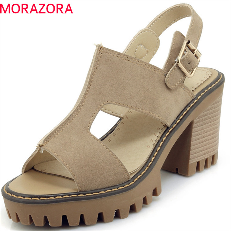 MORAZORA 2018 new arrival fashion flock punk platform shoes simple buckle casual summer shoes peep toe square heel women sandals xiaying smile summer women sandals casual fashion lady square heel slip on flock shoes pointed toe cover heel lace bowtie shoes